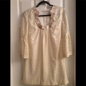 Gold Trina Turk 3/4 Sleeve Shift Dress (WORN ONCE)